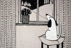 Illustratie met leuke hond die uit het venster kijken vector illustratie