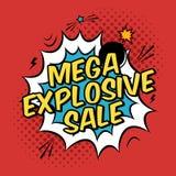 Illustratie met mega explosieve verkoopkorting Stock Fotografie