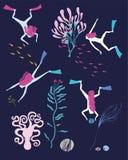 Illustratie met meisjes die diep in de overzeese dieren duiken Royalty-vrije Stock Afbeeldingen