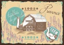 Illustratie met molen, landschap van de Provence Uitstekende affiche royalty-vrije illustratie