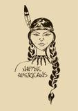 Illustratie met mooi Inheems Indiaanmeisje vector illustratie