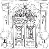 Illustratie met oude deuren royalty-vrije illustratie