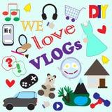 Illustratie met pictogrammen van verschillende thema's van populaire videobloggen Royalty-vrije Stock Afbeelding
