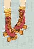 Illustratie met retro rolschaatsen van het meisje de benen en Stock Foto's