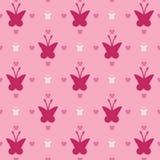 Illustratie met roze vlinders, naadloze achtergrond, naadloos patroon Stock Foto