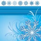 Illustratie met sneeuwvlokken Royalty-vrije Stock Afbeeldingen