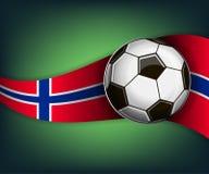 Illustratie met soccetbal en vlag van Noorwegen royalty-vrije illustratie