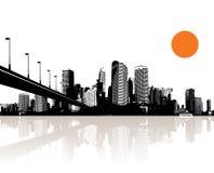 Illustratie met stad. Vector Royalty-vrije Stock Foto's