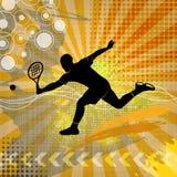 Illustratie met tennissilhouet Royalty-vrije Stock Foto's