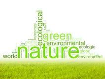 Illustratie met termijnen zoals natur of milieu stock afbeelding
