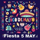 Illustratie met traditionele Mexicaanse symbolen: Mexicaanse sombrero, Mexicaanse gitaren, volkselementen
