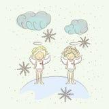 Illustratie met twee engelen stock illustratie