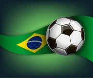 Illustratie met voetbal of soccet bal en vlag van Brazilië stock illustratie