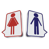 Illustratie met WC-pictogrammen stock afbeeldingen