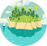 Illustratie met zonnig eiland in het midden van de oceaan, het varen regatta, zeemeeuwen, wolken Stock Fotografie