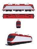 Illustratie: Moderne elektrische locomotief Stock Afbeeldingen