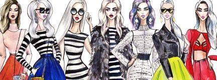 Illustratie modieuze meisjes Het winkelen Manier kunstschets van mooie jonge vrouw in kleding stock illustratie