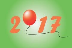 Illustratie 2017 nieuw jaar op blauwe achtergrond Stock Fotografie