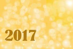 Illustratie 2017 op gouden bokehachtergrond stock afbeeldingen