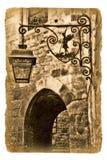 Illustratie op het oude document met oude lantaarn Stock Fotografie