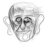 Illustratie op tablet wordt gemaakt die een menselijk gezicht afschilderen dat Stock Foto