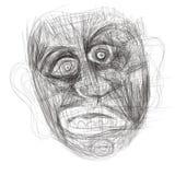 Illustratie op tablet wordt gemaakt die een menselijk gezicht afschilderen dat Royalty-vrije Stock Afbeelding