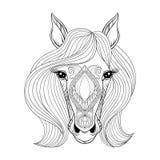 Illustratie op witte achtergrond De kleurende pagina met zentangled Paardgezicht Hand dra Stock Fotografie