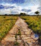 Illustratie, oude weg Stock Afbeeldingen