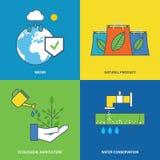 Illustratie over milieubescherming, behoud van waternatuurlijke rijkdommen stock illustratie