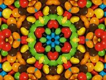 Illustratie, Partij van kleurrijke chocoladedalingen stock foto