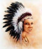 Illustratie schilderend het jonge Indische vrouw dragen veren royalty-vrije illustratie