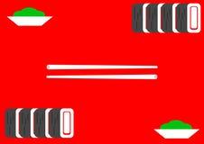 Illustratie, sushi op rode achtergrond Stock Foto's