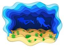 Illustratie twee scuba-duikers op een overzees-bodem Stock Foto's