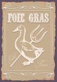 Illustratie uitstekende affiche met eend en foie gras stock illustratie