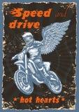 Illustratie uitstekende affiche van motorfiets het rennen vector illustratie