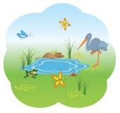 Illustratie van aard met blauw meer Stock Afbeelding