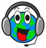 Illustratie van aarde met oortelefoon royalty-vrije illustratie