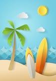 Illustratie van aardlandschap en concept de zomertijd, brandingsraad en overzees of oceaan Ontwerp door origamidocument art. Stock Fotografie