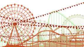 Illustratie van achtbaan en Ferris Wheel. Stock Foto