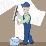 Illustratie van arbeider of metselaar met spatel en pleister of cement die vernieuwing doen Stock Afbeelding