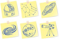 De schetsen van de astronomie en van het waarnemingscentrum royalty-vrije illustratie