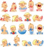 Illustratie van babyjongens en babymeisjes, vector Stock Foto