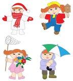 Illustratie van babymeisje in verschillend seizoen Royalty-vrije Stock Afbeeldingen