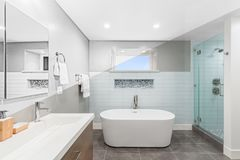 Illustratie van badkamers - het tekenings diagonale gespleten scherm aan foto van Lux royalty-vrije illustratie