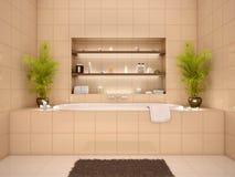 Illustratie van badkamersbinnenland in warme tonen Royalty-vrije Stock Fotografie