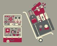 Illustratie van bagage op kar Stock Afbeelding