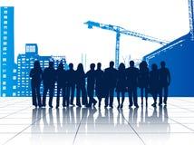 Illustratie van bedrijfsmensen en gebouwen Royalty-vrije Stock Afbeeldingen