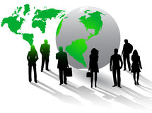 Illustratie van bedrijfsmensen en wereld Royalty-vrije Stock Afbeelding