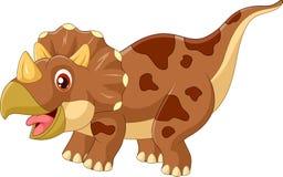 Illustratie van beeldverhaal triceratops de gehoornde dinosaurus drie Stock Fotografie