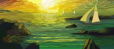Illustratie van beeldverhaal varend jacht in zonsondergang. Royalty-vrije Stock Afbeelding